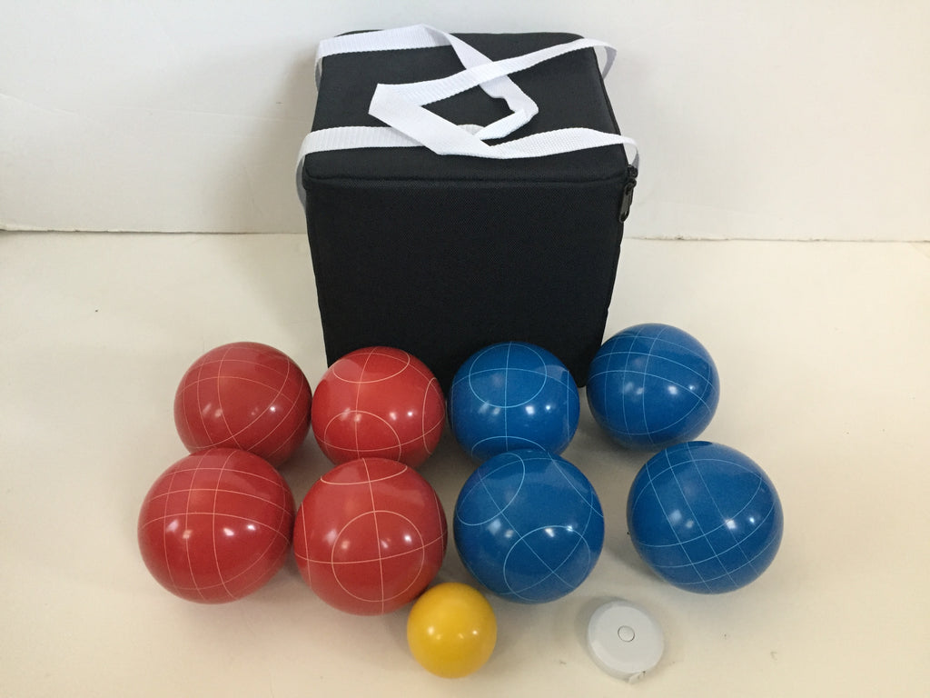 New Listing - (10 of 28) Unique Bocce Sets - 107mm with Blue and Red balls, black bag