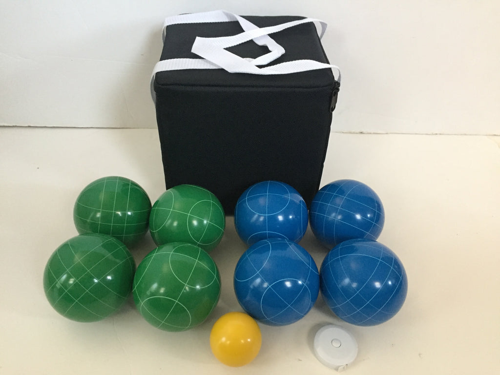New Listing - (4 of 28) Unique Bocce Sets - 107mm with Green and Blue balls, black bag