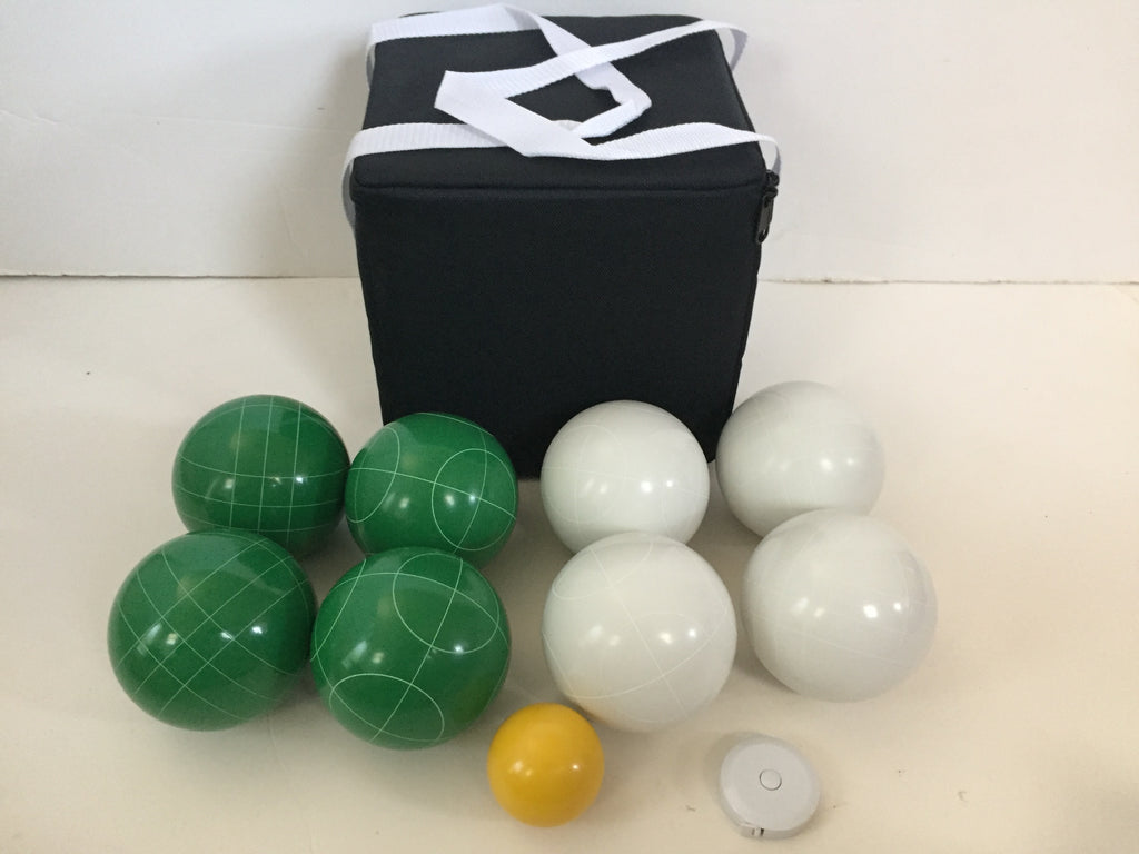 New Listing - (5 of 28) Unique Bocce Sets - 107mm with Green and White balls, black bag