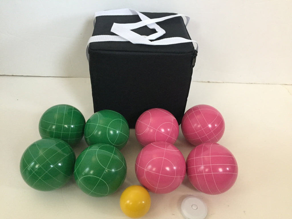 New Listing - (7 of 28) Unique Bocce Sets - 107mm with Green and Pink balls, Black bag