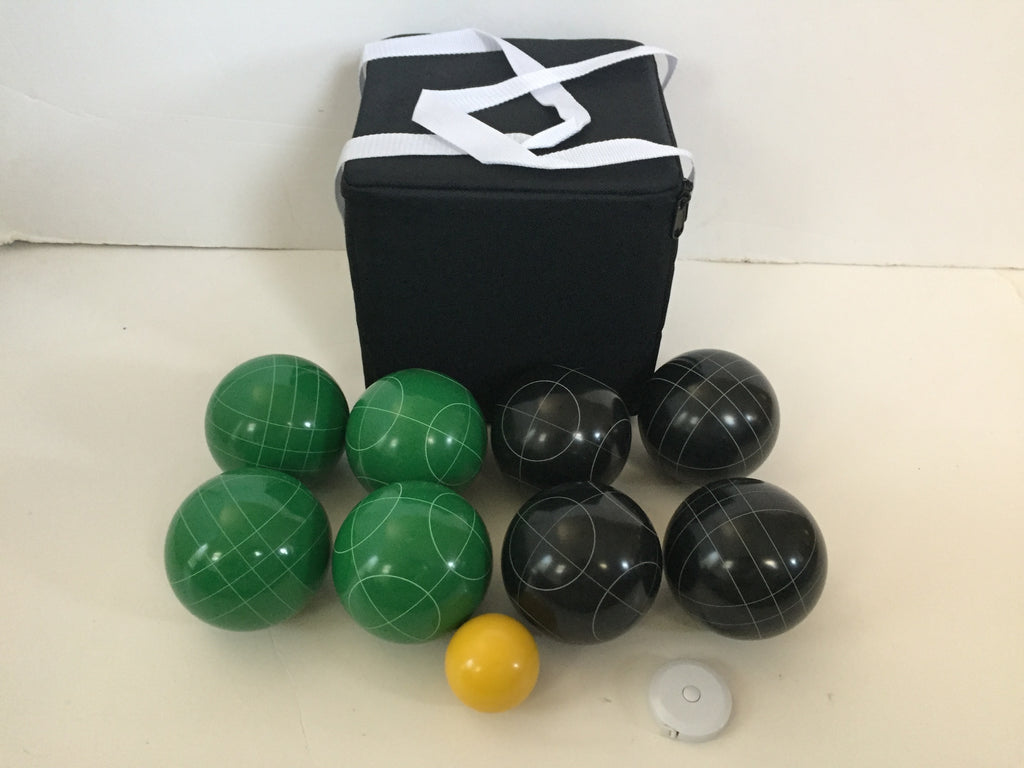 New Listing - (6 of 28) Unique Bocce Sets - 107mm with Green and Black balls, black bag