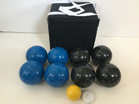 New Listing - (25 of 28) Unique Bocce Sets - 107mm with Blue and Black balls, black bag