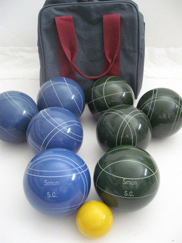 Engraved Bocce package - 110mm EPCO Blue and Green balls