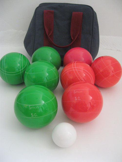 Engraved Bocce package - 110mm EPCO Green and Light Red balls