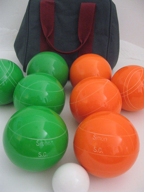 Engraved Bocce package - 110mm EPCO Green and Orange balls