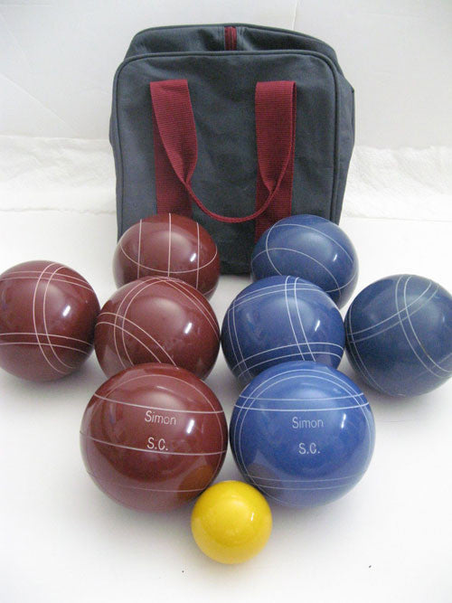 Engraved Bocce package - 110mm EPCO Red and Blue balls