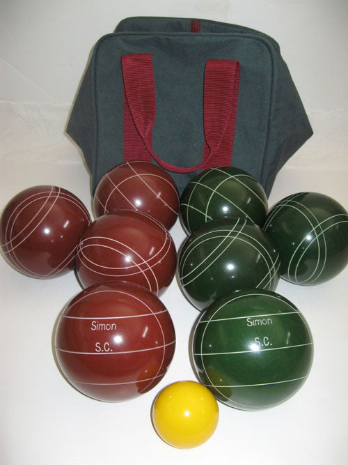 Engraved Bocce package - 110mm EPCO Red and Green balls
