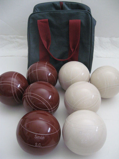 Engraved Bocce package - 110mm EPCO Red and White balls
