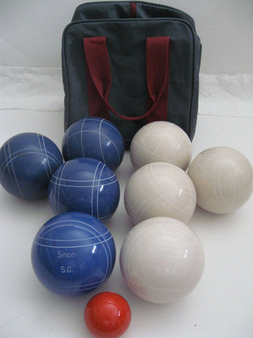 Engraved Bocce package - 110mm EPCO White and Blue balls