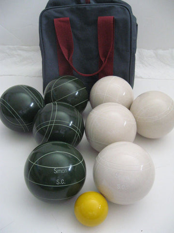 Engraved Bocce package - 110mm EPCO White and Green balls