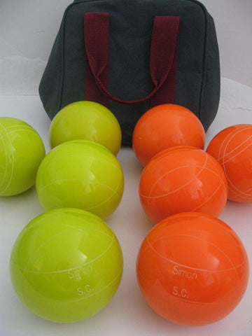 Engraved Bocce package - 110mm EPCO Yellow and Orange balls