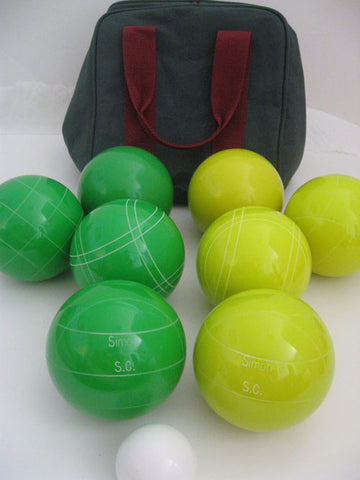 Engraved Bocce package - 110mm EPCO yellow and Green balls