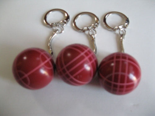 Bocce Ball Key Chains - pack of 3 red