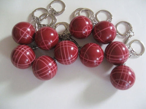 Bocce Ball Key Chains - pack of 10 red