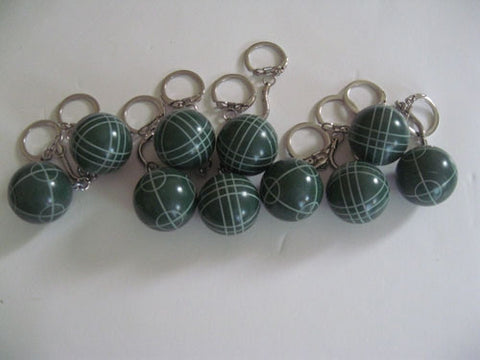 Bocce Ball Key Chains - pack of 10 green