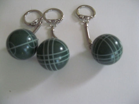 Bocce Ball Key Chains - pack of 3 green