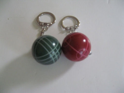 Bocce Ball Key Chains - Combo 2 pack wih 1 red and 1 green