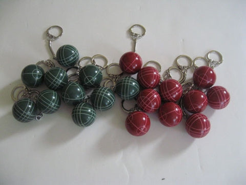 Bocce Ball Key Chains - Combo 20 pack wih 10 reds and 10 greens