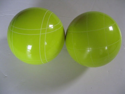 Replacement EPCO 110mm Yellow Bocce Balls with mix of stripes - Pack of 2