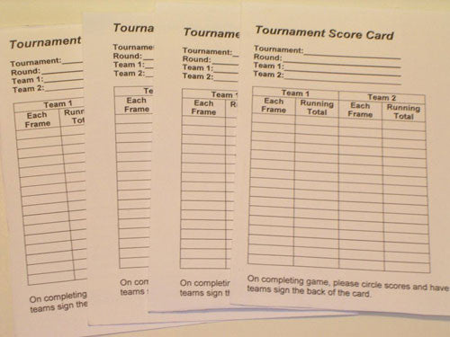 Score sheets for tournaments