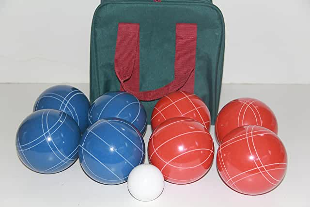 Premium Quality and American Made, 110mm EPCO Bocce Set - Rustic Blue/Red balls and  green/maroon bag