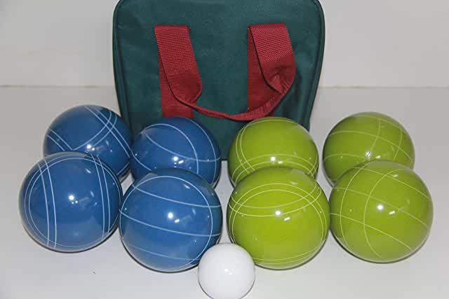 Premium Quality and American Made, 110mm EPCO Bocce Set - Rustic Green/Blue balls and green/maroon bag