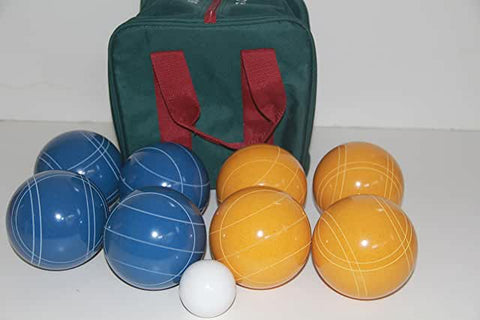 Premium Quality and American Made, 110mm EPCO Bocce Set - Rustic Yellow/Blue balls and  green/maroon bag