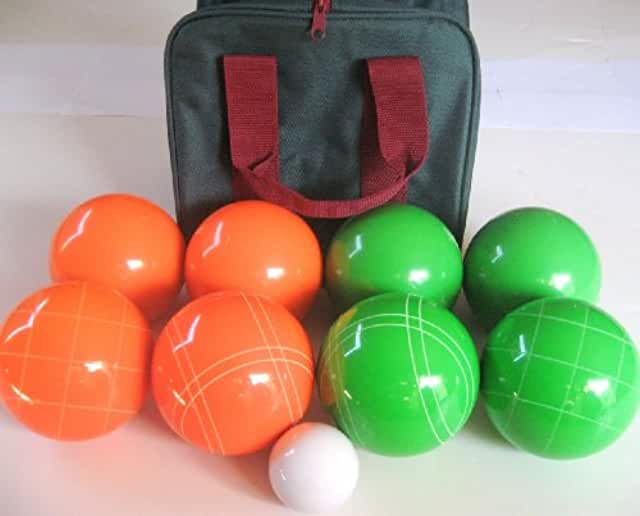 Premium Quality EPCO Tournament Set, Orange and Light Green Bocce Balls - 110mm. Bag included.