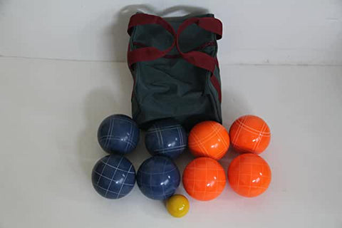 Premium Quality EPCO Tournament Set, Orange and Blue Bocce Balls - 110mm. Bag included.