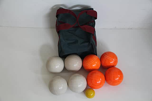 Premium Quality EPCO Tournament Set, Orange and White Bocce Balls - 110mm. Bag included.