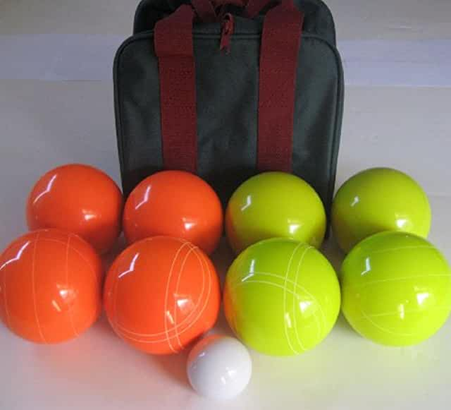 Premium Quality EPCO Tournament Set, Orange and Yellow Bocce Balls - 110mm. Bag included.