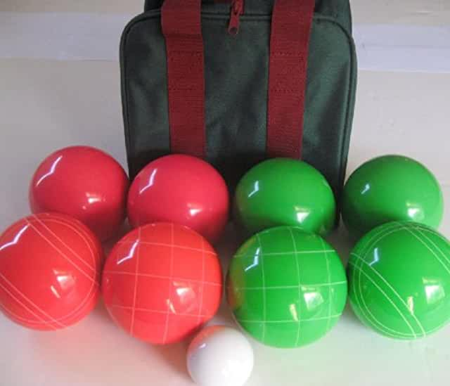 Premium Quality EPCO Tournament Set, Green and Red Bocce Balls - 110mm. Bag included.