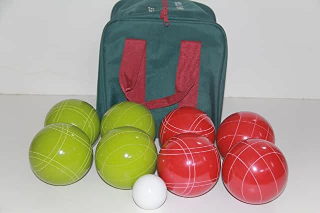 Premium Quality and American Made, 110mm EPCO Bocce Set - Rustic Green/Red balls and green/maroon bag