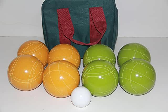 Premium Quality and American Made, 110mm EPCO Bocce Set - Rustic Green/Yellow balls and green/maroon bag
