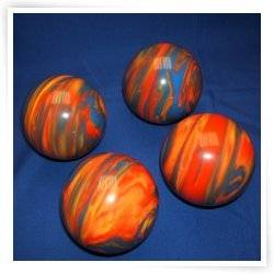 Epco Premium Quality 4 Ball 107mm Tournament Bocce Set - Marbled Orange/Blue/Yellow [Toy]