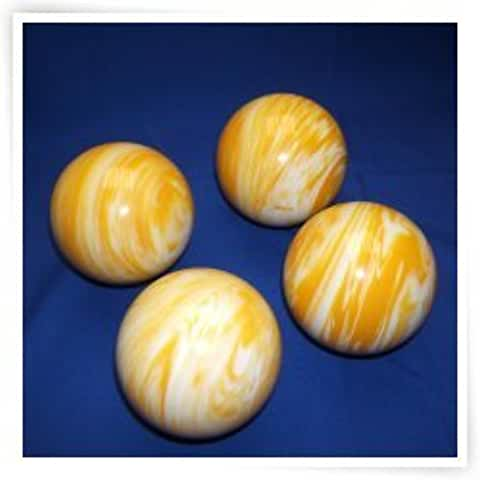 Epco Premium Quality 4 Ball 107mm Tournament Bocce Set - Marbled Yellow/White [Toy]