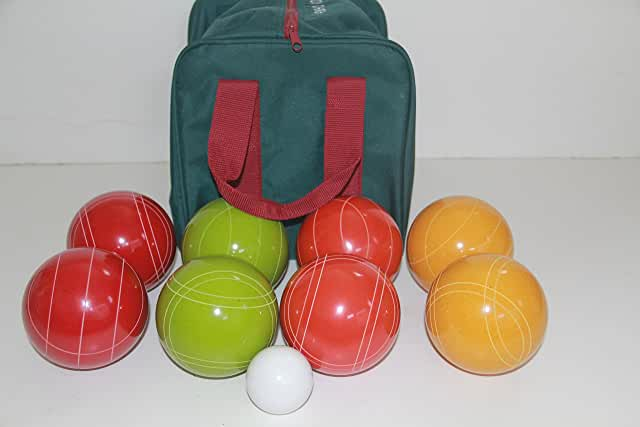 Premium Quality and American Made, 110mm EPCO Bocce Set - Rustic Yellow/Orange/Red/Greenballs and  green/maroon bag
