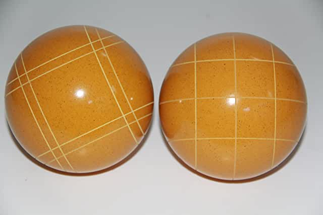 Replacement 2 Pack - EPCO Bocce Balls with Criss Cross and Close Curvey stripes - RUSTIC Yellow 110mm