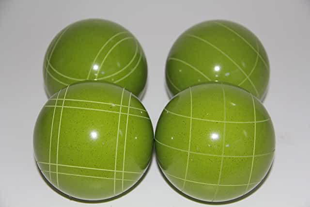 Replacement 4 Pack - EPCO Bocce Balls with Criss Cross and Close Curvey stripes - RUSTIC Green 110mm