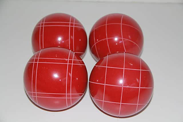 Replacement 4 Pack - EPCO Bocce Balls with Criss Cross and Close Curvey stripes - RUSTIC Red 110mm