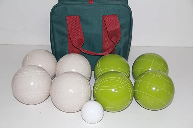 Premium Quality and American Made, 110mm EPCO Bocce Set - Rustic Green/White balls and green/maroon bag