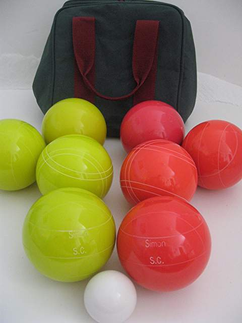 Engraved Bocce package - 110mm EPCO Yellow and light Red balls