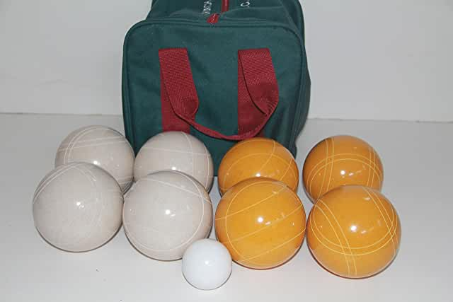 Premium Quality and American Made, 110mm EPCO Bocce Set - Rustic Yellow/White balls and green/maroon bag