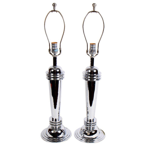 Chrome Art Deco Table Lamps