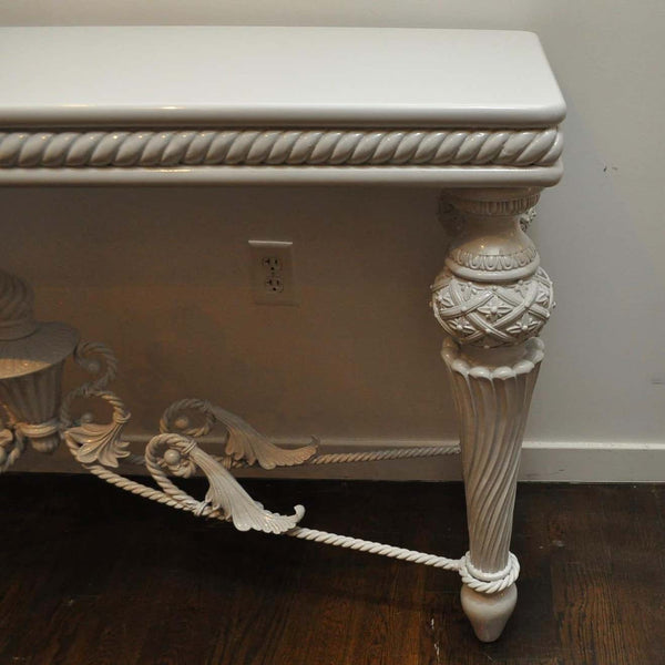 Large French Iron & Wood Lacquered Console Table