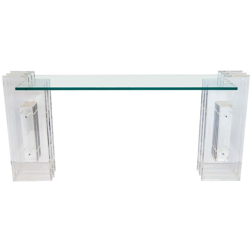 Lucite and Glass Console Table