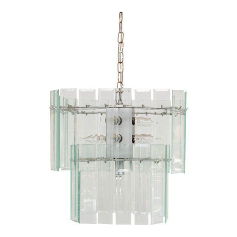 Mid-Century Modern Beveled Glass Chandelier