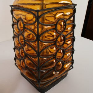 Midcentury Caged Blown Glass Table Lamps