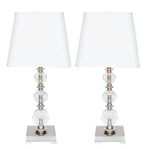 Pair of Crystal Ball Lamps