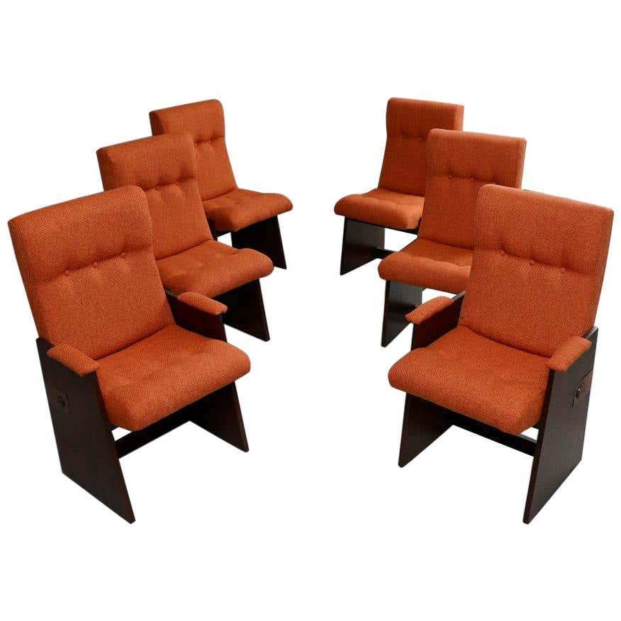 Set of 6 Brutalist Dining Chairs by Lane